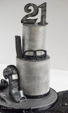 black and silver 21st birthday cake 5