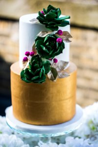 Succulents and gold wedding cake